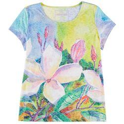 Art & Sol By Ellen Floral Art Short Sleeve Top