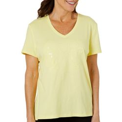 SunBay Womens Tropical Drink Sequined V-Neck Top