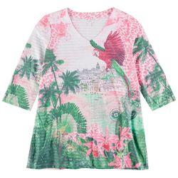 Coral Bay Womens Tropical Print 3/4 Sleeve Top