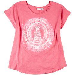 Kiwi Fresh Womens Pineapple Tie-Dye Graphic T-Shirt