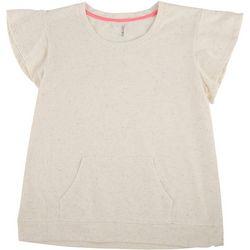 Lush Womens Confetti Short Sleeve Kangeroo Top