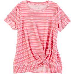 Silverwear Womens Striped Twist Knot Top