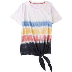 Silverwear Womens Tie Dye Stripe Tie Front Top