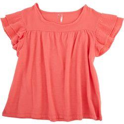 Silverwear Womens Solid Top With Ruffled Sleeve Detail