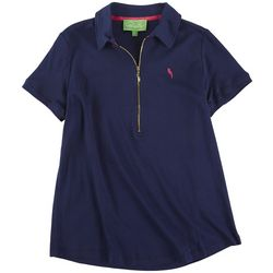 PAPPAGALLO Womens Solid Polo Shirt