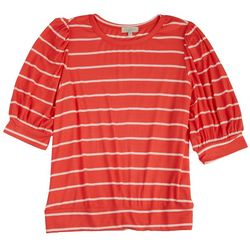Status By Chenault Womens Banded Striped Top