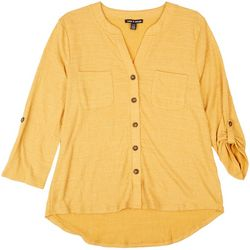 Cable & Gauge Womens Pocketed Button Down Top