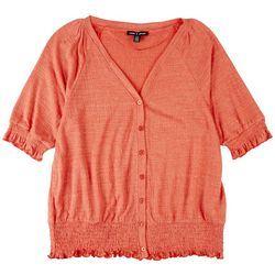 Cable & Gauge Womens Solid Textured Solid Button Down Top