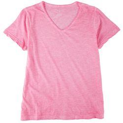 Stella Parker Womens Solid V-Neck Short Sleeve Top