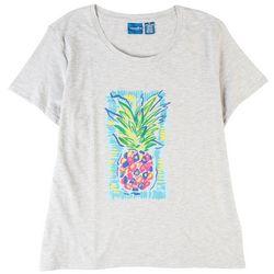 Caribbean Joe Womens Pineapple Screen Print Short Sleeve Top