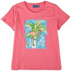 Caribbean Joe Womens Flamingo Screen Short Sleeve Top