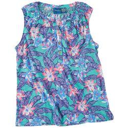 Caribbean Joe Womens Tropical Print Smocked Sleeveless Top