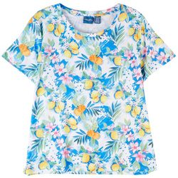 Caribbean Joe Womens Lemon Print Short Sleeve Top
