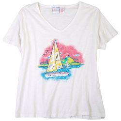 Stella Parker Womens Sailboat Screen Print T-shirt