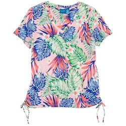 Caribbean Joe Women's Tropical Tie Side Short Sleeve Top