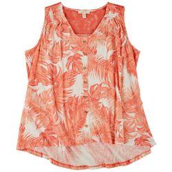 Como Blu Womens Foliage Back Lace Sleeveless Top