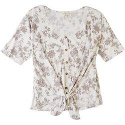 Como Blu Womens Lace Trim Floral Tie Top