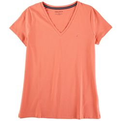 Nautica Womens Basic Fitted V-Neck Short Sleeve Top