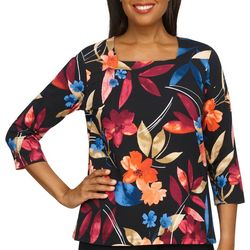Alfred Dunner Womens Floral 3/4 Sleeve Top