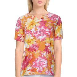 Alfred Dunner Womens Floral Short Sleeve Shirt