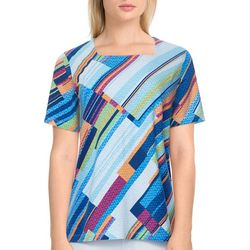 Alfred Dunner Womens Diagonal Square Neck Top