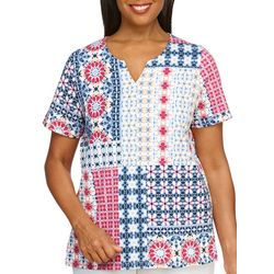 Alfred Dunner Womens Patchwork Top