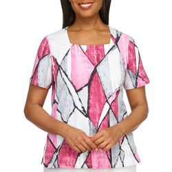 Alfred Dunner Womens Squared Neck Top