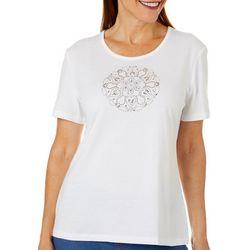 Coral Bay Womens Jewel Embellished Mandala Top