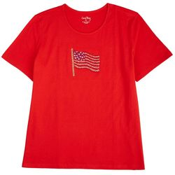 Coral Bay Womens Embellished American Flag Top