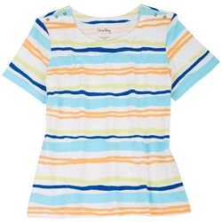 Coral Bay Women's Printed Striped Short Sleeve Top
