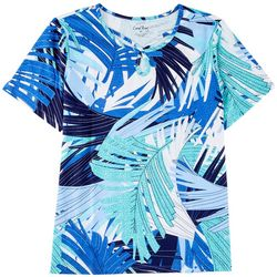 Coral Bay Womens Key Hole All-Over Foliage Top