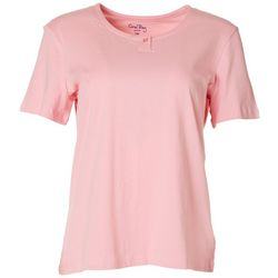 Coral Bay Womens Solid Short Sleeve Henley Top