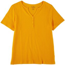 Coral Bay Womens Waffle Knit Henley Top