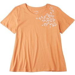 Coral Bay Womens Embroidered Flowers Short Sleeve Shirt