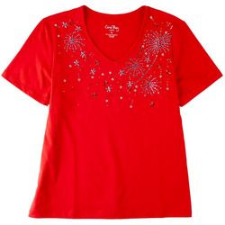 Coral Bay Womens Solid Short Sleeve Firework Detail