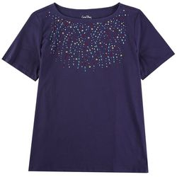 Coral Bay Womans Solid Short Sleeve With Embellish Detail