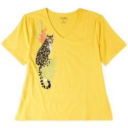 Coral Bay Womens Cheetah Screen Print Short Sleeve Top