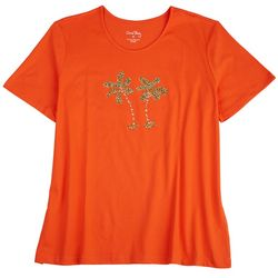 Coral Bay Womens Embellished Palm Trees Short Sleeve Top