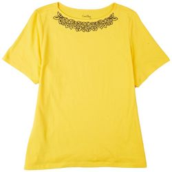Coral Bay Womens Embroidery Boat Neck Top