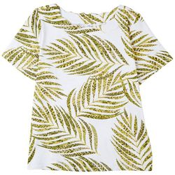 Coral Bay Womens Scalloped Tropical Short Sleeve Top