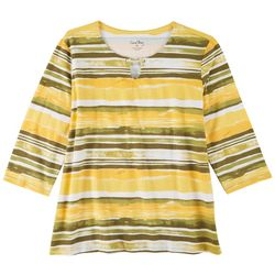 Coral Bay Womens Striped 3/4 Sleeve Top