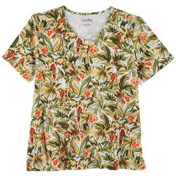 Coral Bay Womens 3 Button Tropical Short Sleeve Top