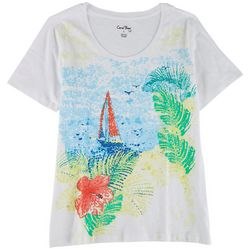 Coral Bay Womens Paradise View Round Neck Top