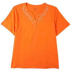 Coral Bay Womens Embellished Button Up Neck Top