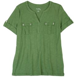 Coral Bay Womens Split Neck Solid Top