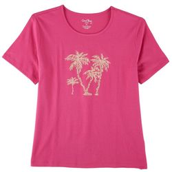 Coral Bay Womens Embroidered Beach Scene Short Sleeve Top