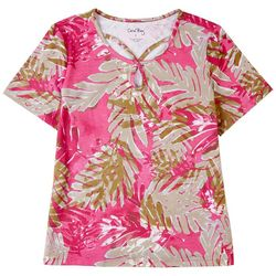 Coral Bay Womens Tropical Keyhole Short Sleeve Top