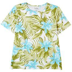 Coral Bay Womens Knot Bahama Short Sleeve Top