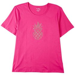 Coral Bay Womens Embellished Pineapple Top