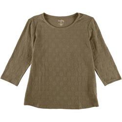 Coral Bay Womens Polka Dot Textured 3/4 Sleeve Top